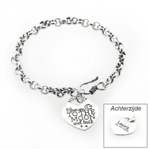 I love you to the moon and back - Armband met Hartje & Naam