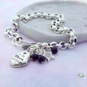 Love you to the Moon and Back armbandje - Zilver
